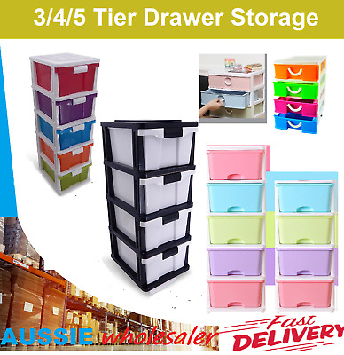 3 4 5 Tier Drawer Storage Organiser Plastic level Office Box Cabinet Coloured