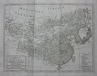 Rare original antique map CHINA KOREA JAPAN, Churchills Voyages, R W Seale, 1744