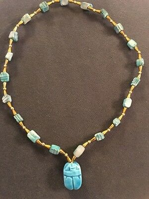 """Vintage 22"""" Blue Egyptian Beaded Carved Scarab Necklace (M)"""