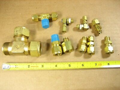 Misc Lot of 10 pcs - Brass Tees, Straight Fittings, Elbows etc.