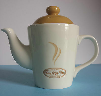 Tim Hortons Limited Edition 2 Cup Teapot Beige & Caramel Embossed logo