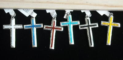 Vintage Siam Sterling Silver & Hand Enameled Cross with Various Color Pendant 2""