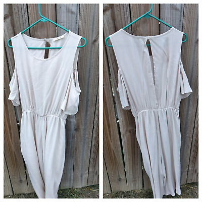 3db7785ba8e LOVE IN WOMENS S Romper Jumpsuit Crop cold shoulder rayon size s tan ...