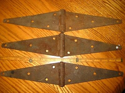 Old Antique Vintage 80 Year Cast Iron 3 Pc Barn Farm Shed Door Strap Hinges Usa