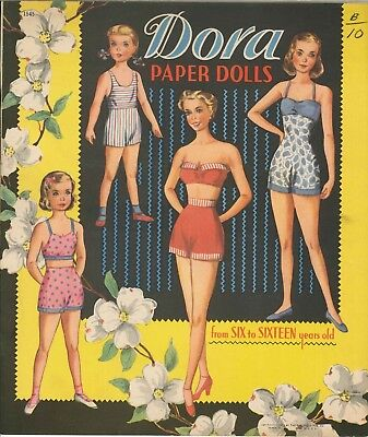 Vnt 1954 4 GIRLS from SCHOOL PAPER DOLL LASER REPRODUCTION~UNCUT~LO PR~TOP SLLER