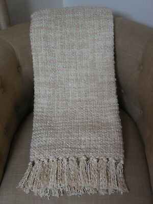 NEW DKNY BOUCLE' Woven Throw Blanket Fringe Creamy Ivory Donna Inspiration Donna Karan Throw Blanket