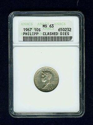 """Philippines 1967 10 Sentimos Coin, """"error"""" """"clashed Dies,"""" Anacs Certified Ms63"""