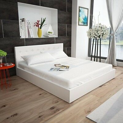 4ft6 Double Ottoman Storage Bed Frame Gas Lift Faux Leather White Bed Furniture