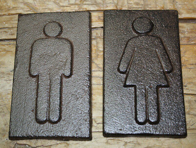 Cast Iron Antique Style Man & Woman Bathroom Decor Figures Wall Plaque Signs