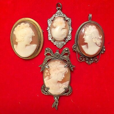 Nice Assorted Lot Of 4 Gorgeous Vintage Cameos For The Antique Collector No Res!