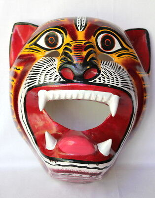 Hand Painted Mexican Folk Art Carved Wood Jungle Tiger Cat Animal Festival Mask