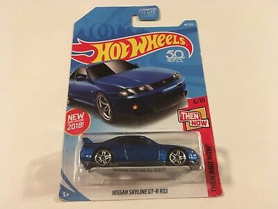 Hot Wheels Then And Now Nissan Skyline GT-R R33 Blue 1:64 Diecast Model Car