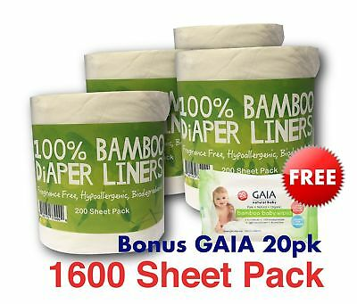 1600 Flushable Bamboo Nappy/Diaper Liners/Inserts PREMIUM QLTY w/free Gaia Wipes
