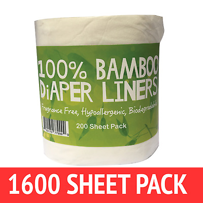 1600 Flushable Bamboo Nappy/Diaper Liners/Inserts PREMIUM QLTY  cloth/disposable