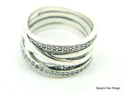 bee2c918a Nwt Authentic Pandora Silver Ring Entwined #190919Cz-52 Size 6 Hinged Box