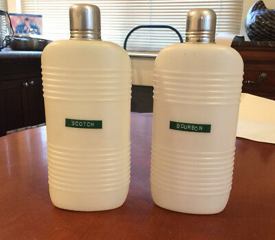 A Pair of Vintage Parker Travel Flasks