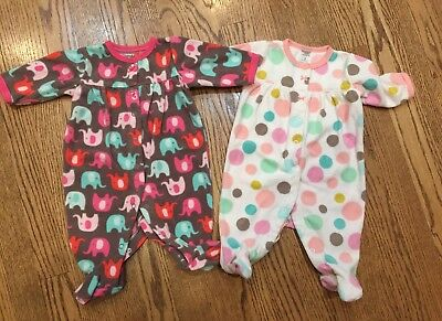 Baby & Toddler Clothing Clothing, Shoes & Accessories Euc Twin Girls Fleece Sleepers Carter's Brand 6 Months