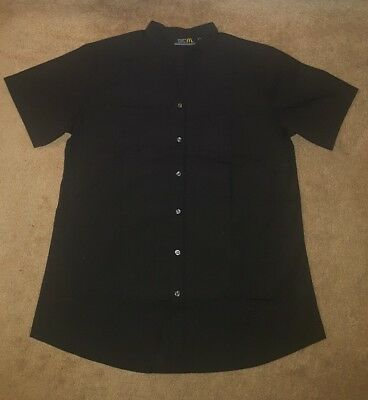 McDonald Apparel Collection Womens XL Black Gray Striped Employee Button Front