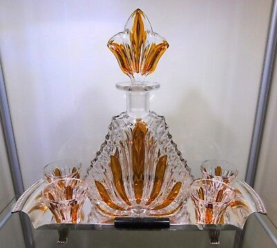 Art Deco Decanter & 4 Liqueur / Shot Glasses with EPNS Tray included.