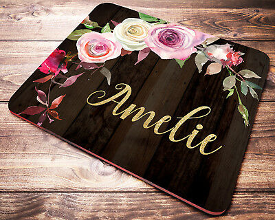 Personalized Custom Name Mouse Pad Red Roses Watercolor Mousepad Coworker Gift Floral Desk Accessories Decor