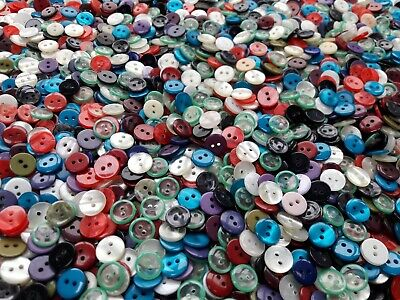 50 100 200 Mixed Buttons 12mm Small Blue Pink Grey Cream Assorted Craft ML6W x