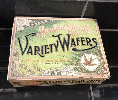SWALLOW & ARIELL'S Variety Wafers Vintage Australian Biscuit Tin