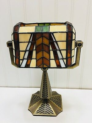 PartyLite P7782 Artisan Bankers Tealight Lamp Tiffany Style Stained Glass 22875