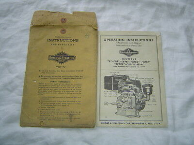 Briggs & Stratton 8 8F 8P series engine operator's service manual parts catalog