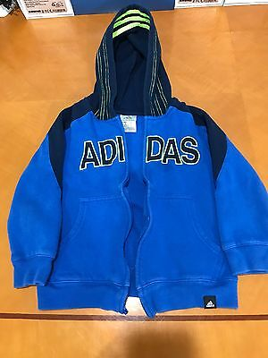 Kids Boys Adidas Blue Neon Yellow Hooded Sweater Hoodie Size 5