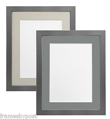 Silver Picture Photo Frames with Light Grey & Dark Grey Mounts Multiple Sizes H7