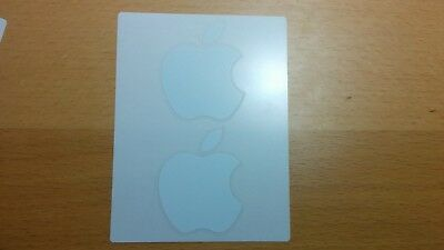 New Genuine White Apple Logo Decal Sticker - 2 Total Stickers