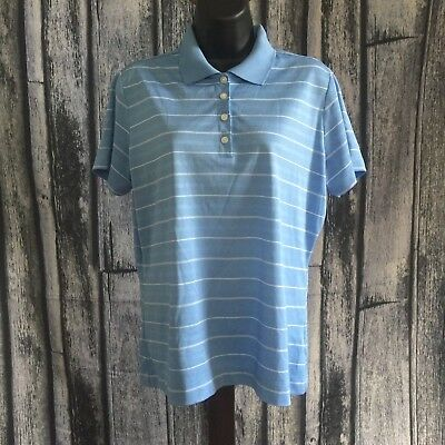 Women's Nike Golf Short Sleeve T Shirt Polo Large Dri-Fit Blue Striped Collared