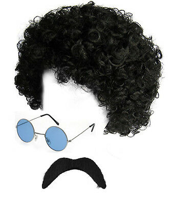 Adults 70s Hippie Fancy Dress Costume Hippy Afro Scouser Glasses Wig Tash Stag