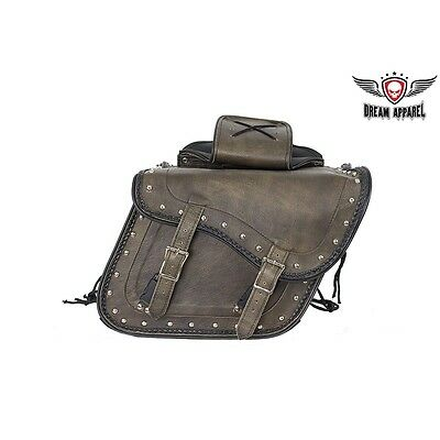 """13"""" BROWN REAL LEATHER Saddle Bags for Harley FATBOY FATBOY LO BAD BOY & OTHERS"""