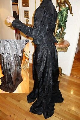 ANTIQUE FRENCH SKIRT & TOP BLOUSE SILK 1880's for DISPLAY WEAR or Pattern FLAWS