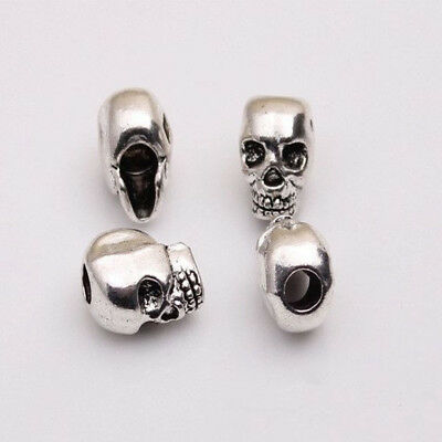 DIY Charms For Bracelet Antique Silver Skull Head Jewelry Making Spacer Beads