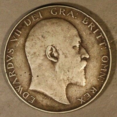 1909 Great Britain Silver 1/2 Crown Circulated          ** Free U.S. Shipping **