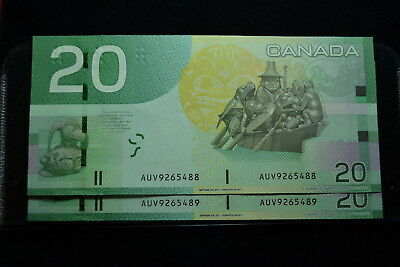 2 Notes $20 Bank Note of Canada Y- 2011 Prefix AUV9265488-89 CUNC/GUNC