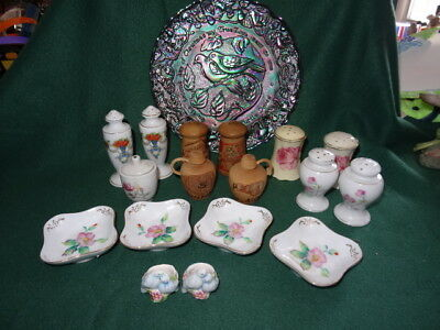 Mixed Lot of Vintage Porcelain & Wood Salt & Pepper Shakers & Small Plates Etc..
