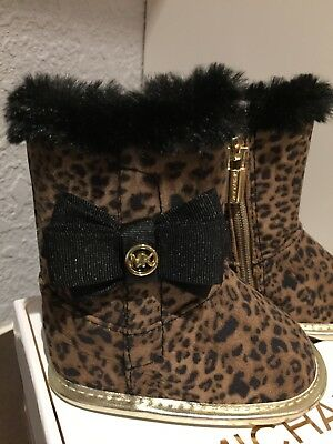 605ca37559c2 GIRLS 1 INFANT MICHAEL KORS Baby Baba 888 Crib Shoes Boots Leopard ...