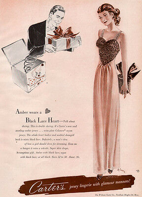 Carter's Black Lace Heart Jersey Lingerie Gown DOUBLE DARING gga 1947 Print Ad