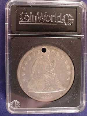 1871 Seated Liberty Silver Dollar With A Hole In Coin