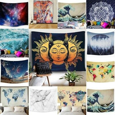 USA Sell Waves Planet Tapestry Indian Wall Hanging Mandala Bedspread Home Decor
