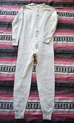 Vintage Ll Bean Two Layer Gray Union Suit Long Johns Mens Small