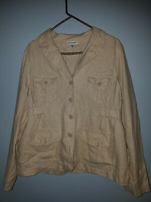 Motherhood Maternity Large Jacket  Tan/Beige 100% LINEN