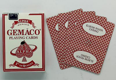 GEMACO Alpha Casino Poker Cards Red Deck Regular Index Used Elbow River Casino
