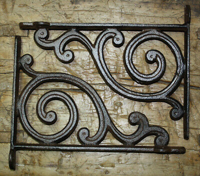 2 Cast Iron Antique Style HD SPIRAL Brackets Garden Braces RUSTIC Shelf Bracket