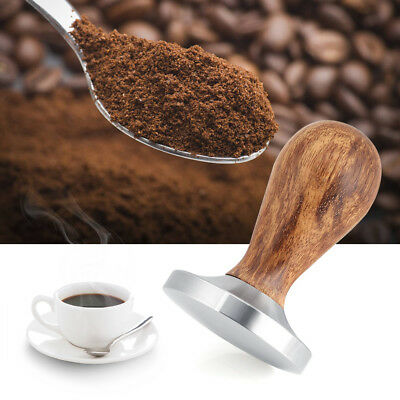 58mm Stainless Steel Tamper Espresso Coffee Base Wooden Handle Beans Press Tool