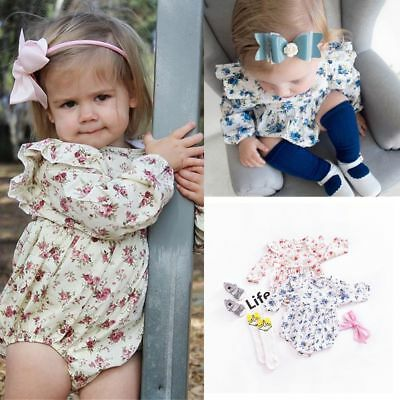 Floral Baby Girl Romper long sleeve Jumpsuit Outfits Sunsuit Clothes Toddler