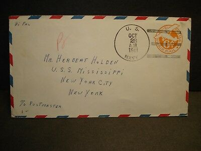 USS NEVILLE APA-9 to USS MISSISSIPPI Naval Cover 1941 Sailor's Mail